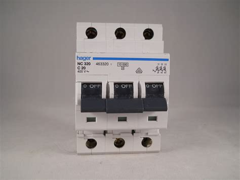 Mcb 3 Pole 20 Ere Bcb63c20 Mcb hager mcb 20 pole 3 phase circuit breaker type c 20a 463320 nc320 willrose