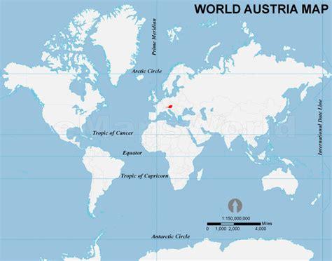 austria on the world map world austria map austria location in world