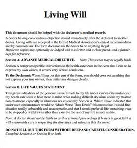 Living Will Template by Living Will Template 7 Free Sles Exles Format