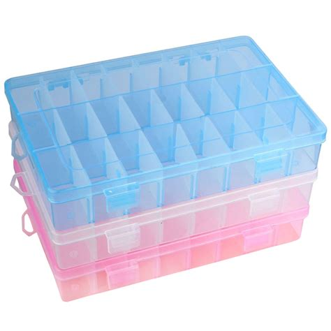 bead organizer box 24 compartments plastic box jewelry bead storage