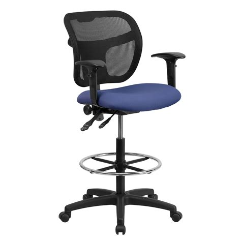 Wl R1756 Kemeja Navy Printing flash furniture wl a7671syg nvy ad gg mid back mesh drafting stool with navy blue fabric seat