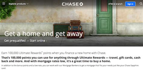 chase house loan chase is offering 100 000 ultimate rewards points for getting a home mortgage one