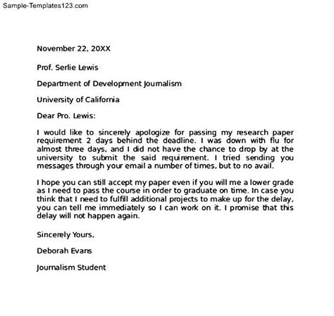 Apology Letter From To Principal Apology Letter To For Being Late Sle Templates