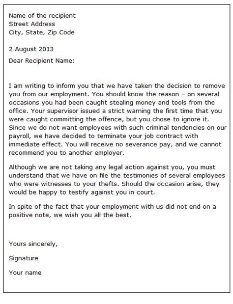 Patient Dismissal Letter For Behavior Dismissing An Employee For Unacceptable Behaviour Sle Letter