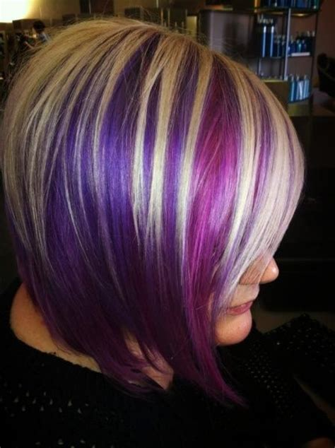 hairstyles with blonde and purple highlights bold hair purple and blonde short hair rocks