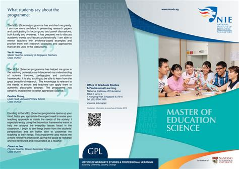 education brochure master of education national institute of education nie