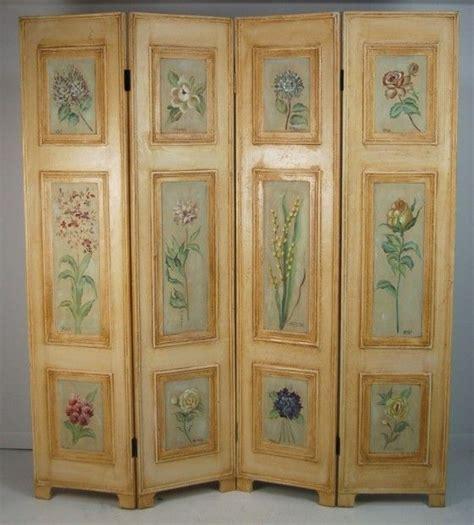 Vintage Painted Tri Fold Room Vintage Four Folding Hinged Dressing Screen Room