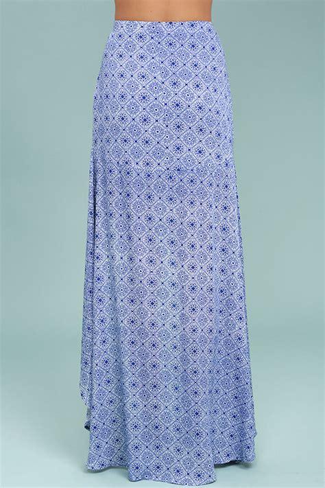 chic blue and white skirt print skirt high low skirt