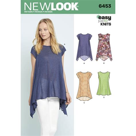 Pattern Knit Top misses easy knit tops new look sewing pattern 6453 sew