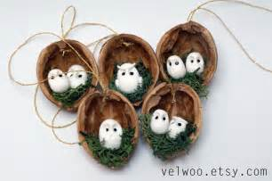 owl ornament set rustic christmas decorations animal