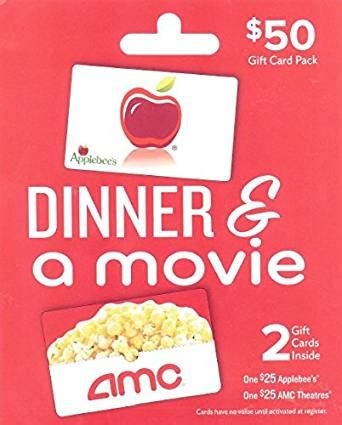 Dinner And A Movie Gift Card - amazon com applebee s amc dinner a movie multipack of 2 25 gift cards