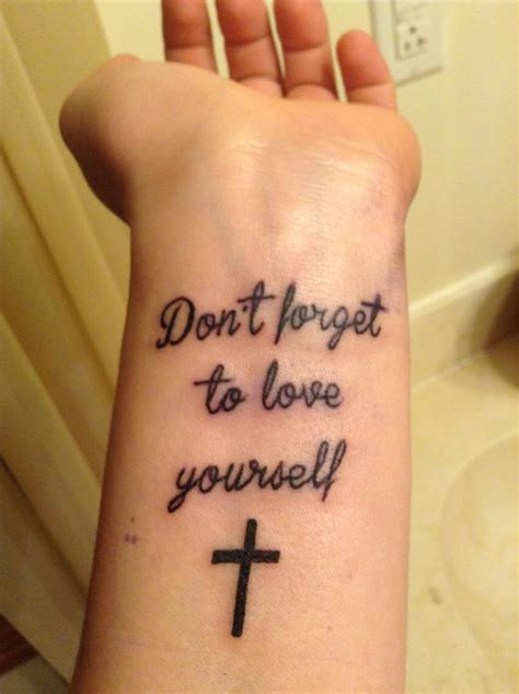 cute small cross tattoos quot don t forget to yourself quot with a small cross wrist