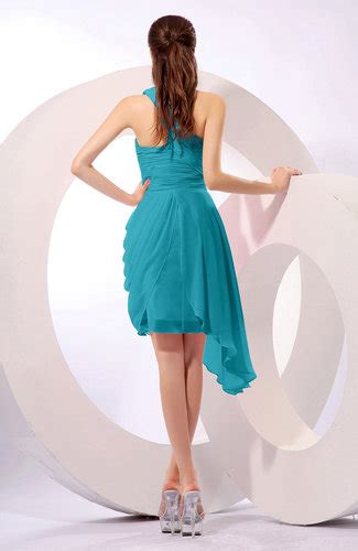 Plain Asymmetric Sleeveless Dress teal plain a line asymmetric neckline sleeveless chiffon
