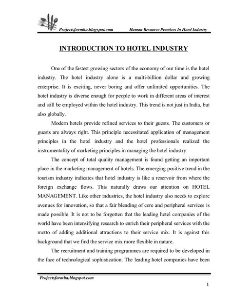 Essay On Career In Hospitality Industry by A Project Report On Hr Practice In Hotel Industry