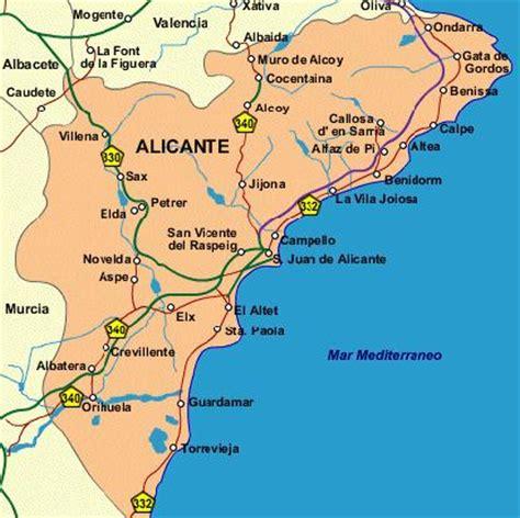 map of alicante area property for sale in alicante
