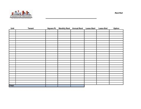 commercial rent roll template commercial alternative rent roll form