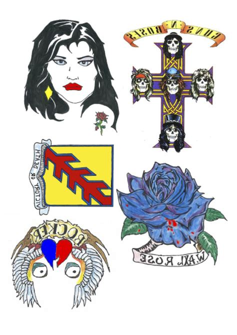 axl rose fake tattoos temporary tattoos by easytatt flash set temporary