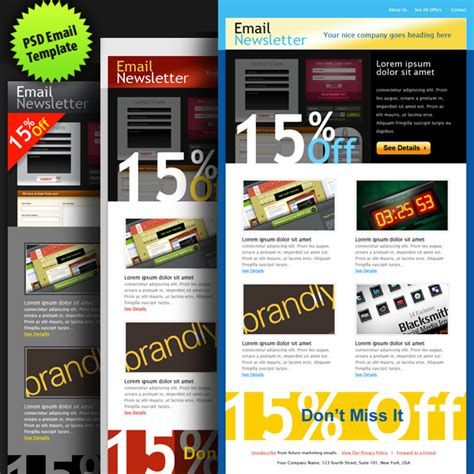 psd to email template psd email template in 3 colors graphicsfuel