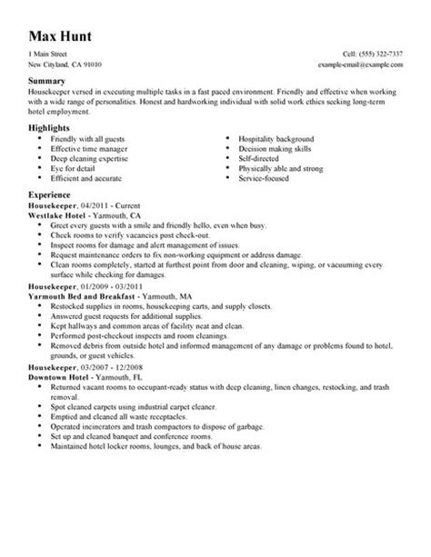 Exle Resume Of Housekeeping In Hotel Housekeeper Resume Exle Hotel Hospitality Sle Resumes Livecareer