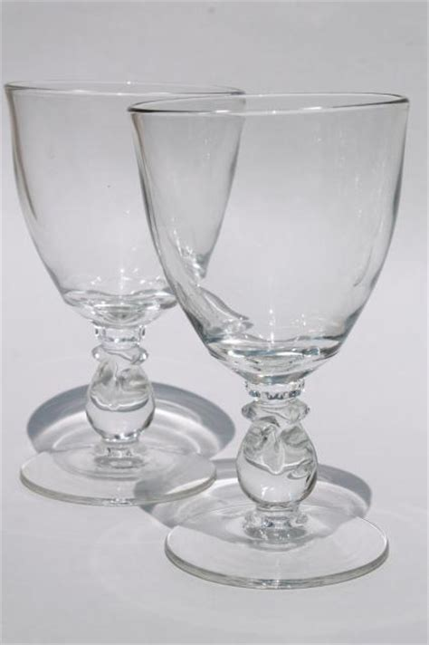 Vintage Barware Water Goblets And Heisey Lariat Clear Vintage Stemware Large Water Goblets Pressed Glass Wine Glasses