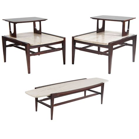 Mid Century Living Room Set Mid Century Modern Living Room Set Coffee And Two End Tables At 1stdibs
