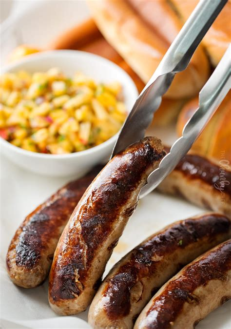 bratwurst toppings grilled bratwurst with spicy peach salsa the chunky chef