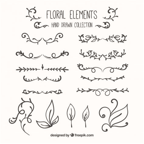 hand draw design elements vector hand drawn floral elements collection vector free download