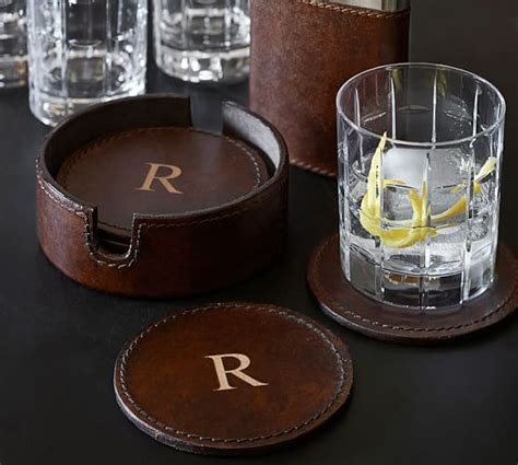 drink coasters saddle leather drink coaster set of 6 pottery barn