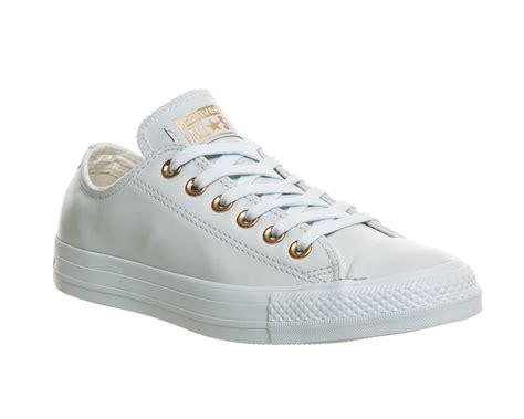Converse Low Leather mens converse all low leather powder blue gold