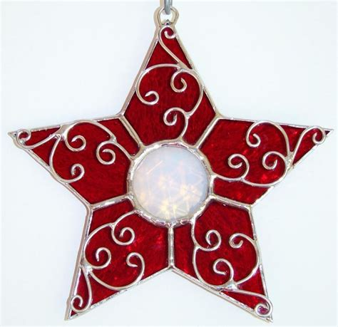 Stained Glass Ornaments - ruby filigree stained glass ornament suncatcher