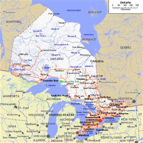 map northern ontario canada map of ontario