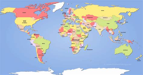 world maps  labeled countries  travel information