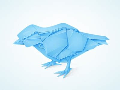 Origami Blue Bird - 22 bird logo designs for inspiration and ideas