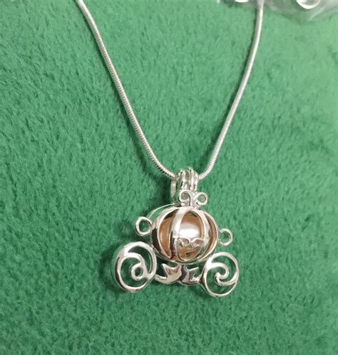 925 sterling silver pumpkin carriage pearl cage locket