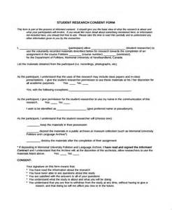 Letter Of Consent For Research Exle Sle Research Consent Form 8 Free Documents In Pdf Word