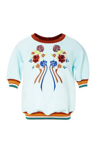 Embroidery Cropped neoprene embroidery cropped sweatshirt by clover moda