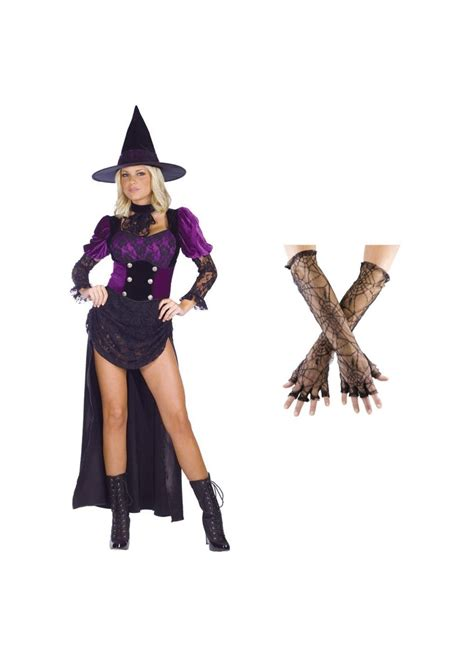 Witch And Wardrobe Costumes by Witch Burlesque Costume And Spiderweb Gloves Set
