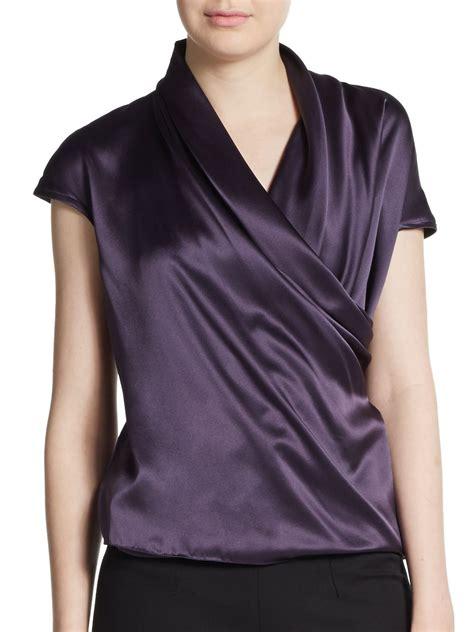 Bird Stripe Draped Top Sk amelia toro draped silk charmeuse top in purple lyst