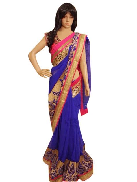 buy blue embroidered georgette saree with blouse