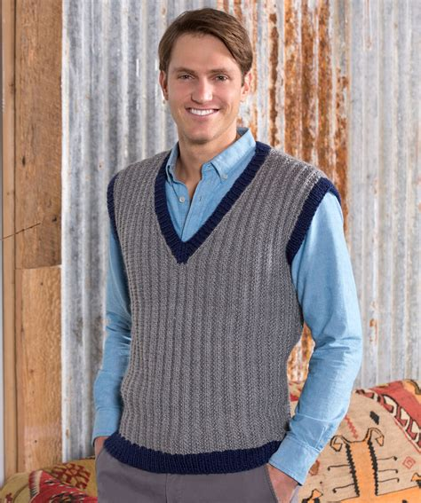 knitting pattern mens sleeveless vest 36 knit and crochet patterns for men red heart