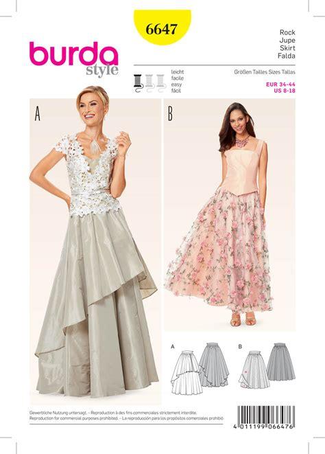 pattern sewing burda burda 6647 misses skirt