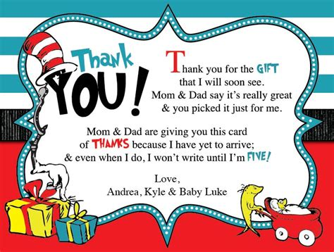 Dr Seuss Baby Shower Poems by Dr Seuss Baby Shower Thank You Card Blackline