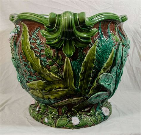 Majolica Planter by Large Minton Majolica Planter Painted In Brown And Green And Pink At 1stdibs