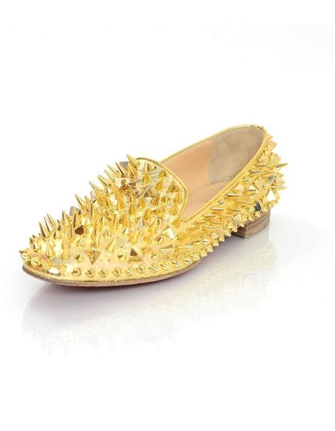 gold spiked loafers christian louboutin gold spiked loafers sz 38 5 for sale