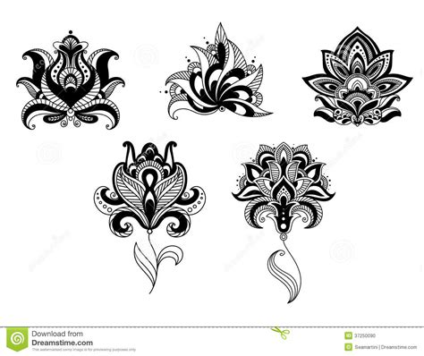 pattern vector motifs ornate indian and persian floral design set download