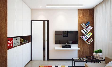 minimalist  bedroom apartment designed   young man