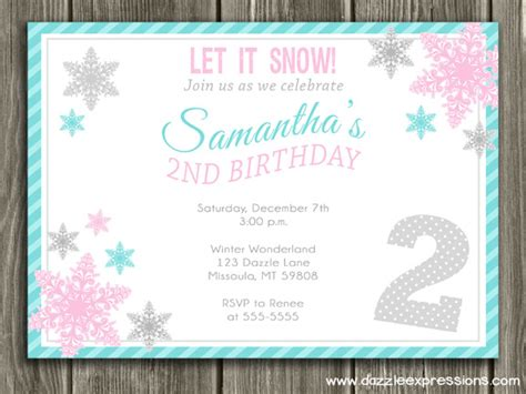 Birthday Card Template Winter by Printable Birthday Photo Invitations By Dazzle
