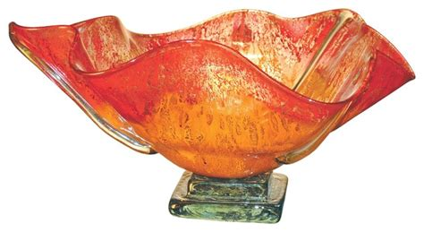 Orange Vases And Bowls Orange Glow Glass Bowl Contemporary Vases By
