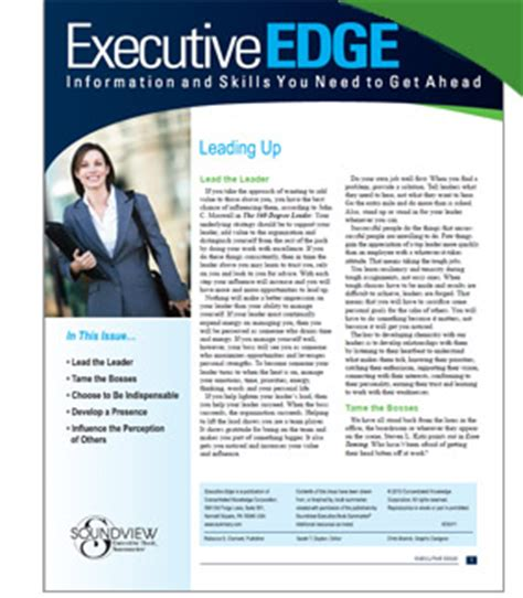 Executive Newsletter Template Executive Edge Improve Communication Personal Skills Soundview