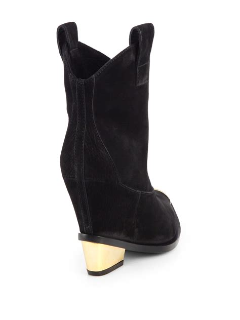 Hell Boot Coboy Black lyst giuseppe zanotti metaltipped suede cowboy ankle boots in black